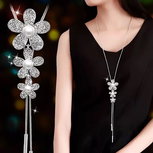 BOUTIQUE Jewelry - Long Silver Rhinestone Pearl Adjustable Necklace